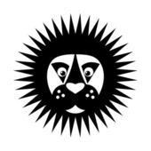Black & white Lion head icon — Stock Vector