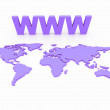 WWW World Map Globe - Foto Stock