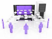 Computer Network, information sharing — Stock Photo