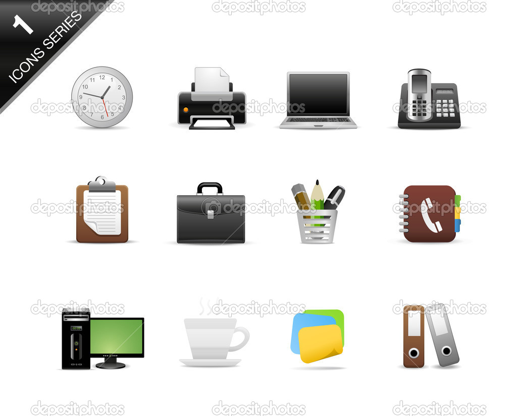 Icons Set for Web Applications, Office icons, Universal icons Set - Vector — Stock Vector #14016690