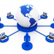 Global blue Network - Stock Photo