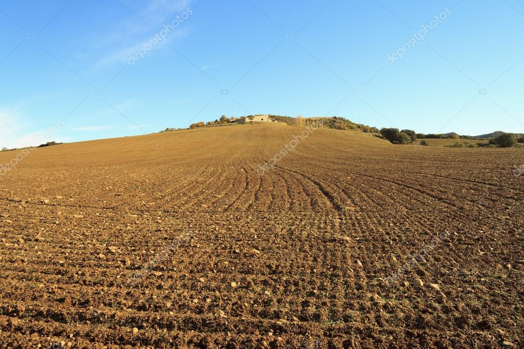 Extensive crop field, plowed land and house on the hill — Stock Photo #14891741