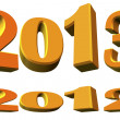 New year 2013 and about the year 2012, 3D model — Stock Photo