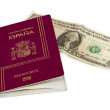Spanish passport and dollar bill, isolated — Stock Photo
