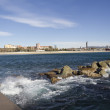 Breakwater on the coast of Barcelona — Stock Photo