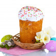 Beautiful Easter cake in basket, colorful eggs and flowers isolated on white — Stock Photo #11877312