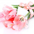 Beautiful pink tulips isolated on white — Stock Photo #12137638