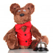 Toy bear and bell isolated on white — Stock Photo #12567459