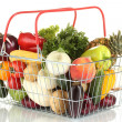 Fresh vegetables and fruit in metal basket isolated on white background - Foto de Stock