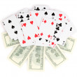 Dollars and a deck of playing cards isolated on white — Stock Photo