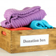 Donation box with clothing isolated on white — Stock Photo #12568779