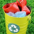 Royalty-Free Stock Photo: Recycling bin on green grass