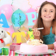 Stock Photo: Little beautiful girl celebrate her birthday