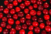 Cherry background on black close-up — Stock Photo