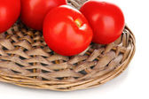 Ripe red tomatoes isolated on white — Foto Stock