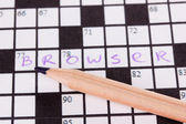 Crossword puzzle close-up — Stockfoto