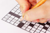 Crossword puzzle close-up — 图库照片