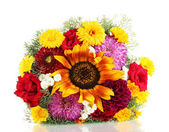 Beautiful bouquet of bright flowers, isolated on white — Stock Photo