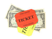 Coloridos boletos con dinero aislado en blanco — Foto de Stock