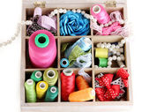 Thread and material for handicrafts in box isolated on white — Stock Photo