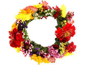 Wreath of beautiful summer flowers, isolated on white — Stock Photo
