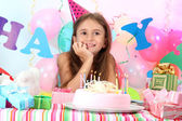 Little beautiful girl celebrate her birthday — Stockfoto