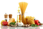 Pasta spaghetti, vegetables, spices and oil, isolated on white — Stock Photo