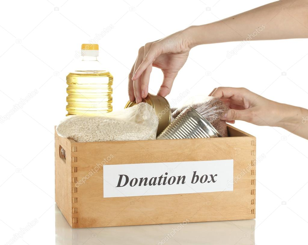 Donation box with food on white background close-up — Stock Photo #12568065