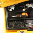 Stock Photo: Tool box with tools close-up