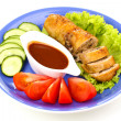 Stock Photo: Tasty meat cutlet with garnish on plate
