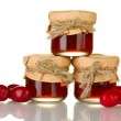 Jars of jam from the cornel isolated on white — Stock Photo #12576214