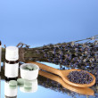Bottles of medicines and herbs on blue background. concept of homeopathy - Foto Stock
