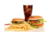 Fast food üzerinde beyaz izole — Stok fotoğraf