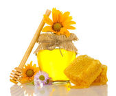 Sweet honey in jar with honeycomb, wooden drizzler and flowers isolated on — Stock Photo