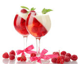 Fruit jelly in glasses with raspberries isolated on white — Stock Photo