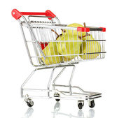 Ripe pears in metal trolley isolated on white — Stock Photo