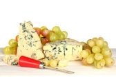 Composition of blue cheese and grapes on white background close-up — Stock Photo