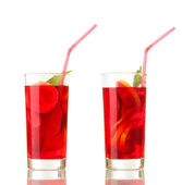 Sangria in glasses, isolated on white — Stock Photo