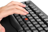 Painful typing on keyboard close-up — Stock Photo