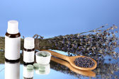 Bottles of medicines and herbs on blue background. concept of homeopathy — Стоковое фото