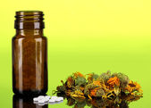 Bottle with pills and herbs on green background. concept of homeopathy — Stock Photo
