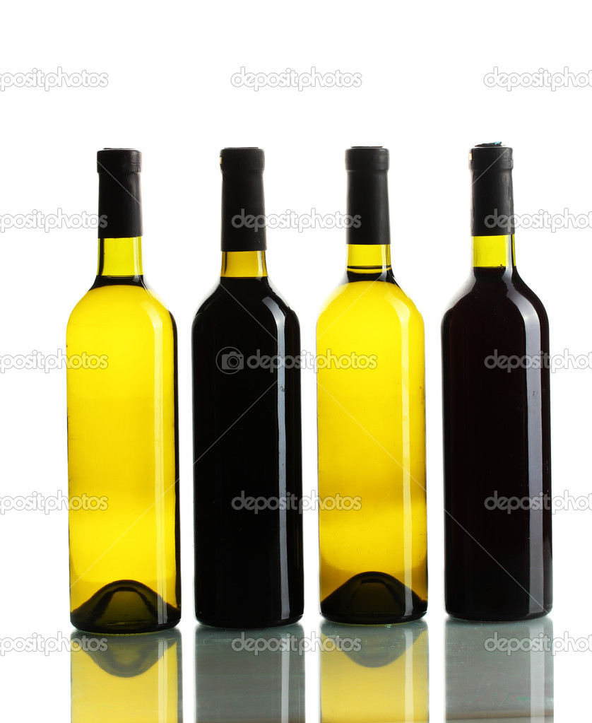 Bottles of wine isolated on white — Stock Photo #12575033