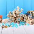 Decor of seashells on wooden table on blue wooden background — Stock Photo #12614738