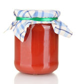 Jar with tomato paste isolated on white — Stock Photo