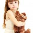 Portrait of beautiful cute girl with toy bear isolated on white — Stock Photo