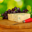 Cheese with mold on the cutting board with grapes on bright green backgroun — Photo