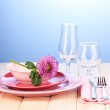 Table setting on bright background close-up — Stock Photo #12646431