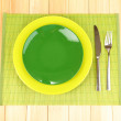 Table setting on wooden background close-up — Stock Photo #12646440