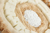 Sweetener with white and brown sugar close-up — Stock Photo