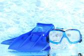 蓝鳍和蓝色的大海背景上的面具 — 图库照片